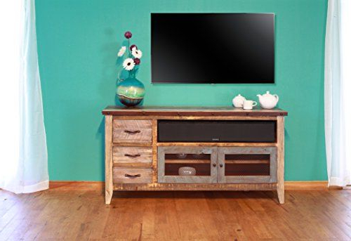 """Best And Newest Rustic Western 60"""" Reclaimed Look Multi Colored Louvered Throughout Jackson Corner Tv Stands (View 5 of 25)"""