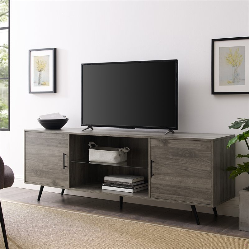 """Best And Newest Walker Edison 70"""" Mid Century Modern Wood Tv Stand In Inside Carbon Extra Wide Tv Unit Stands (View 5 of 10)"""