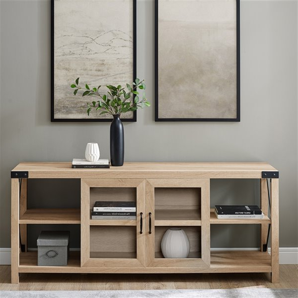Best And Newest Walker Edison Farmhouse Tv Cabinet – 60 In X 25 In – White Regarding Walker Edison Farmhouse Tv Stands With Storage Cabinet Doors And Shelves (View 9 of 10)