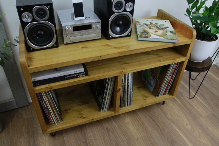 Best And Newest Wooden Rustic  Industrial Record Player Stand, Vinyl Regarding Industrial Tv Stands With Metal Legs Rustic Brown (View 10 of 10)