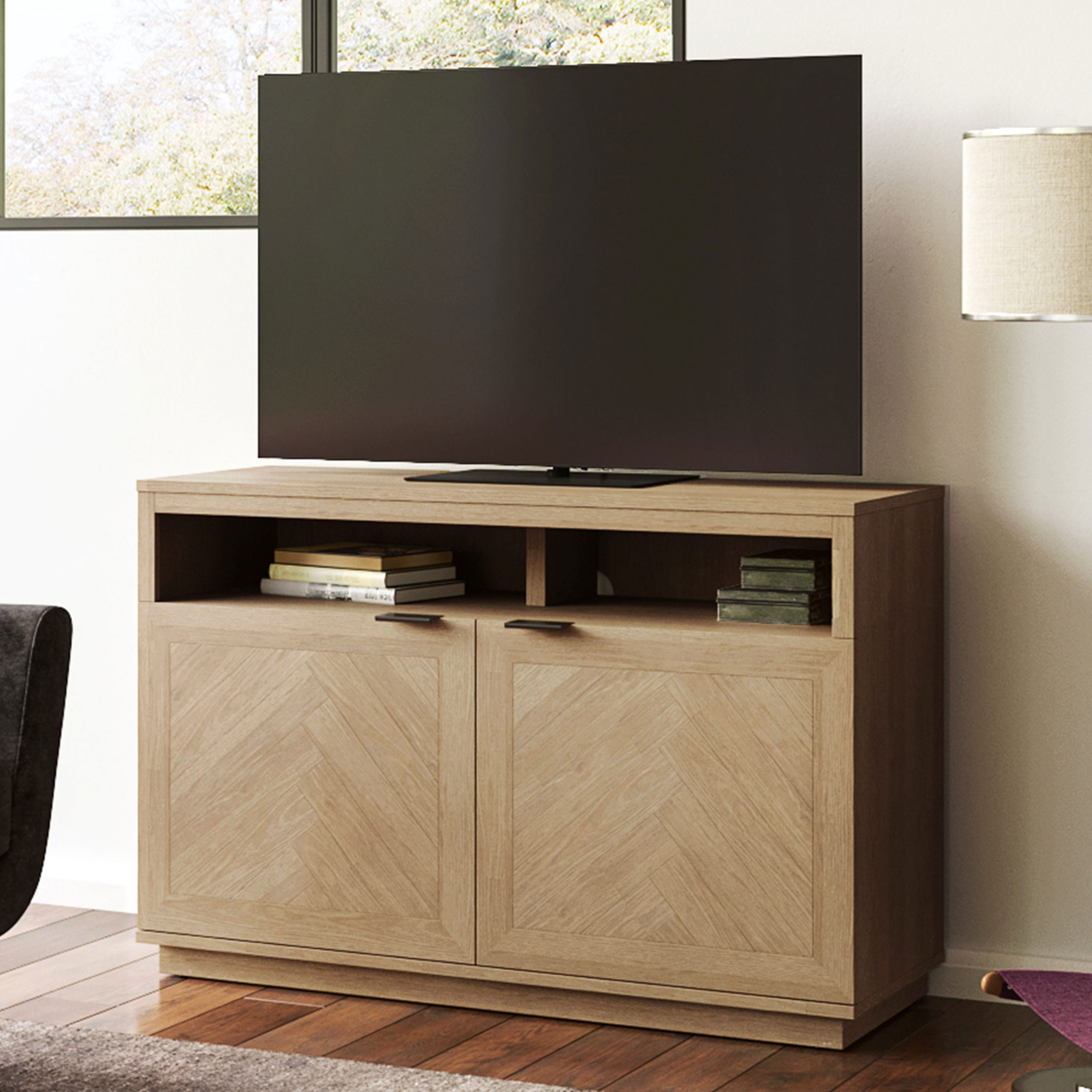 """Better Homes & Gardens Hendrix Herringbone Style Tv Stand Pertaining To 2017 Twila Tv Stands For Tvs Up To 55"""" (View 7 of 25)"""