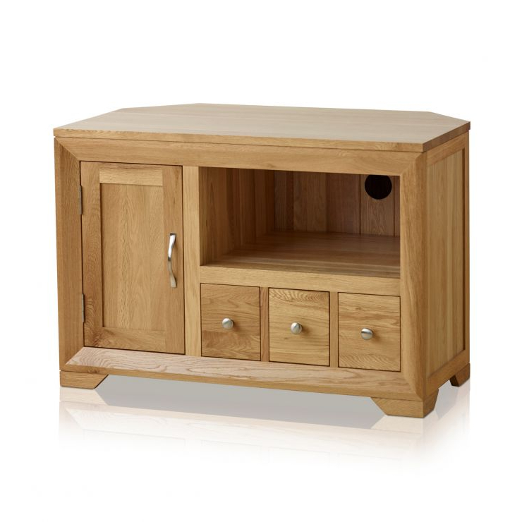 Bevel Small Corner Tv Cabinet In Solid Oak (View 5 of 25)