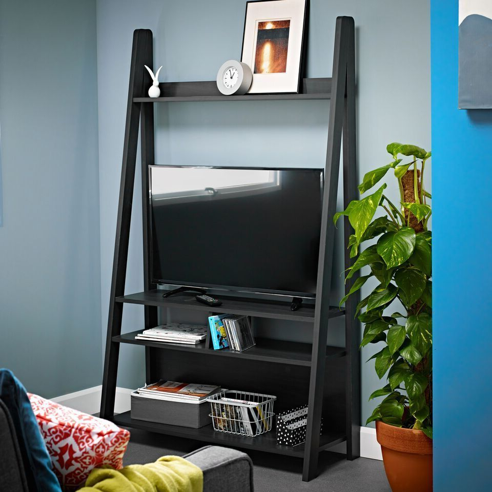 Black Charcoal Ladder Display Shelving Unit Tv Television Regarding Well Liked Tiva White Ladder Tv Stands (View 4 of 10)