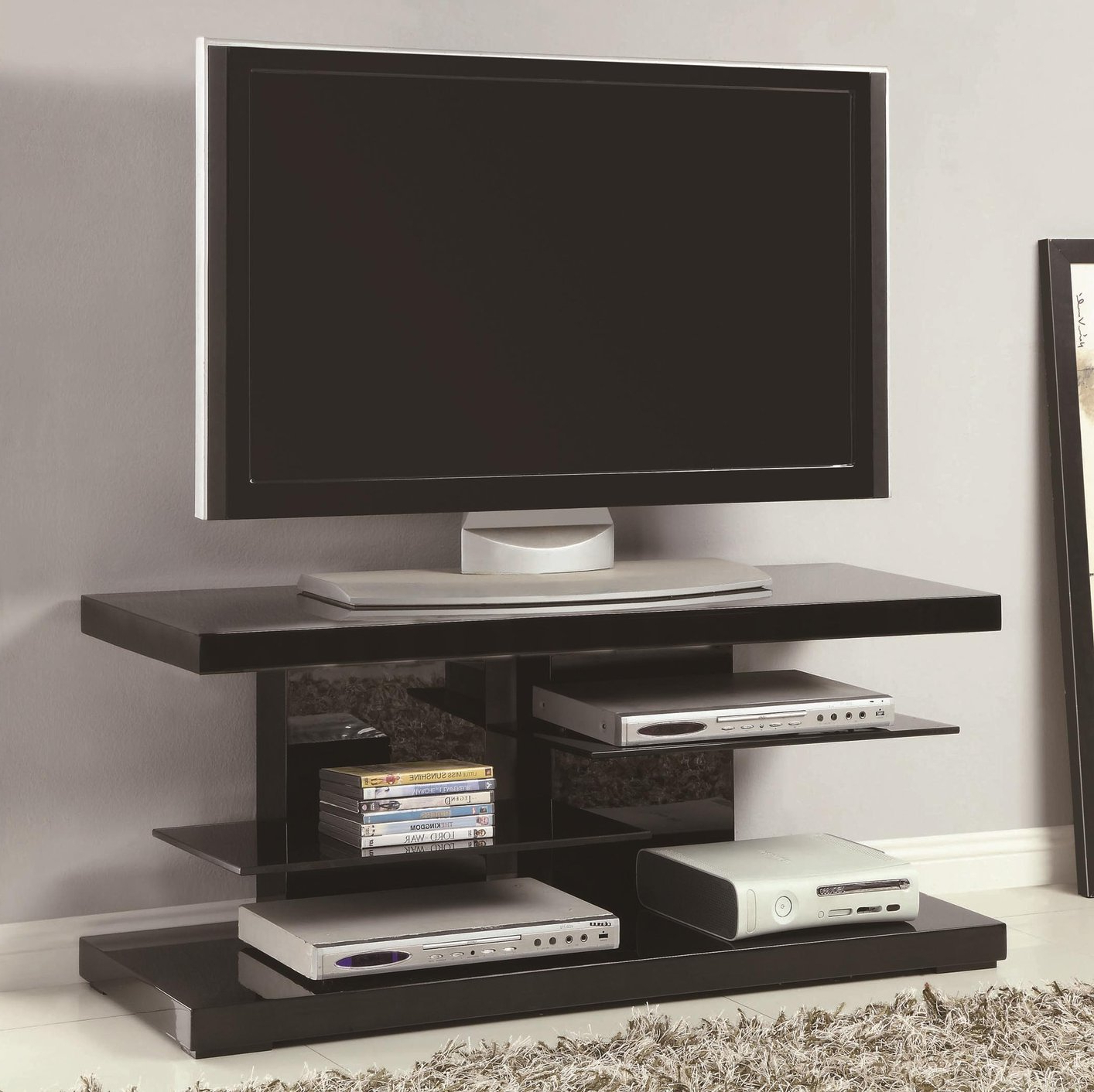 Black Glass Tv Stand – Steal A Sofa Furniture Outlet Los For 2018 Modern Black Floor Glass Tv Stands With Mount (View 1 of 10)