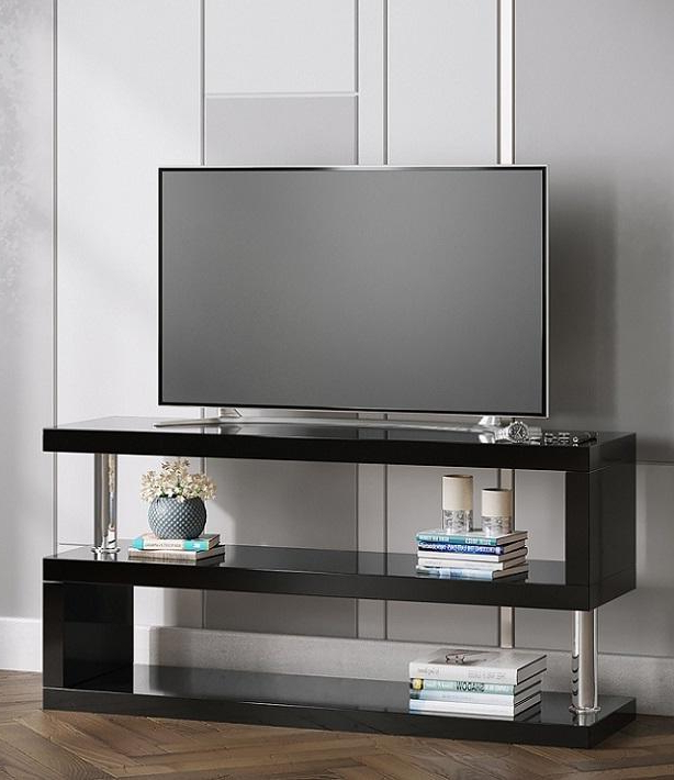 Black High Gloss 's' Television Stand Pertaining To Most Popular Modern Black Tabletop Tv Stands (View 4 of 10)