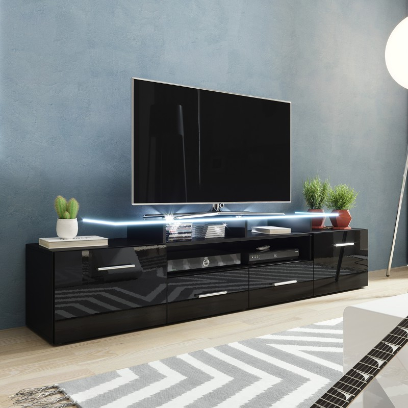 Bmf Evora Black Tv Stand 194cm Wide Black High Gloss Led Pertaining To Latest Copen Wide Tv Stands (View 6 of 10)