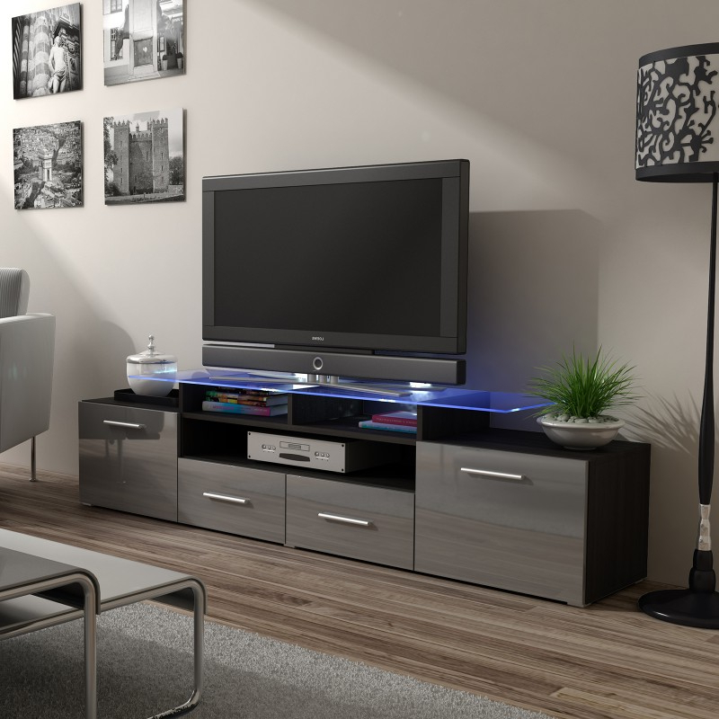 Bmf Evora Wenge Tv Stand 194cm Wide Grey High Gloss Led With Regard To Current Zimtown Tv Stands With High Gloss Led Lights (View 8 of 10)