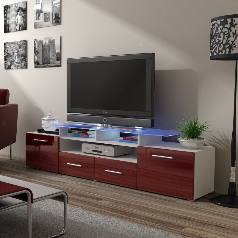 Bmf Evora White Tv Stand 194cm Wide Burgundy High Gloss For Popular Oliver Wide Tv Stands (View 7 of 10)