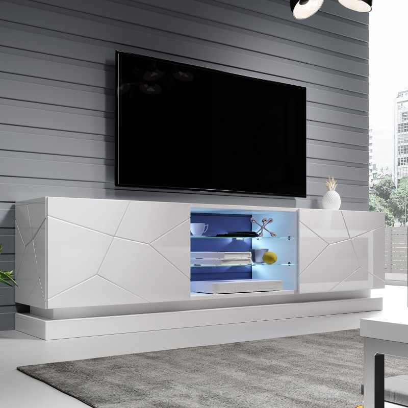 Bmf Qiu Tv Stand 200cm Wide White High Gloss Led Lights With Regard To Newest Milano White Tv Stands With Led Lights (View 13 of 25)