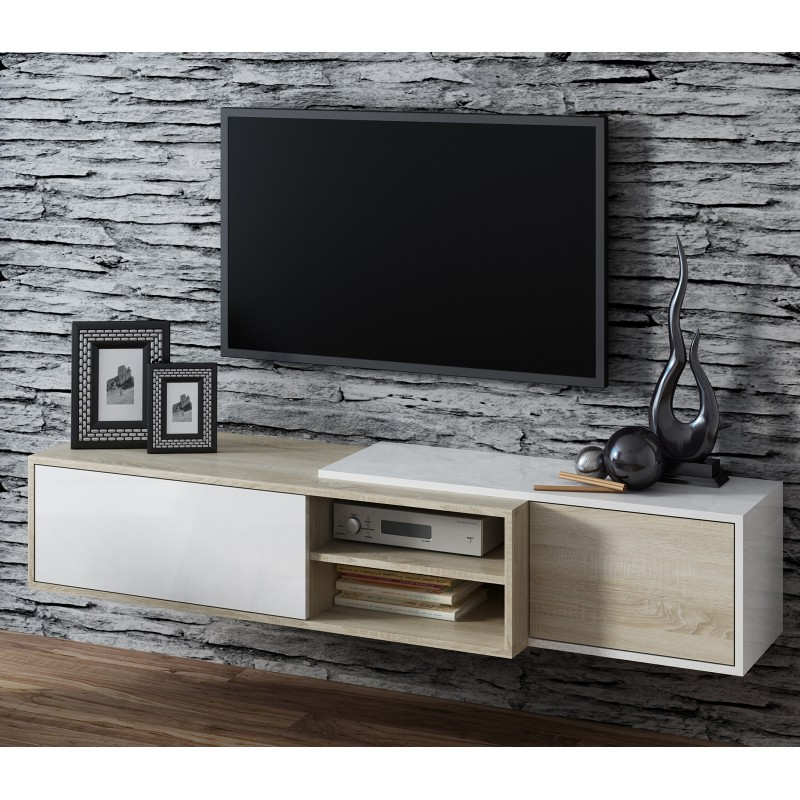 Bmf Sigma 1d Tv Stand 180cm Wide Sonoma Oak Wood Effect With Regard To Latest Bromley White Wide Tv Stands (View 6 of 10)