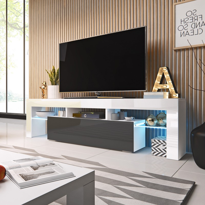 Bmf Toro Tv Stand 158cm Wide White Grey High Gloss Led Regarding Preferred Milano White Tv Stands With Led Lights (View 19 of 25)