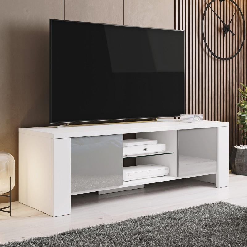 Bmf West Tv Stand 130cm Wide White Matt Grey High Gloss Throughout Most Recent Bromley White Wide Tv Stands (View 2 of 10)