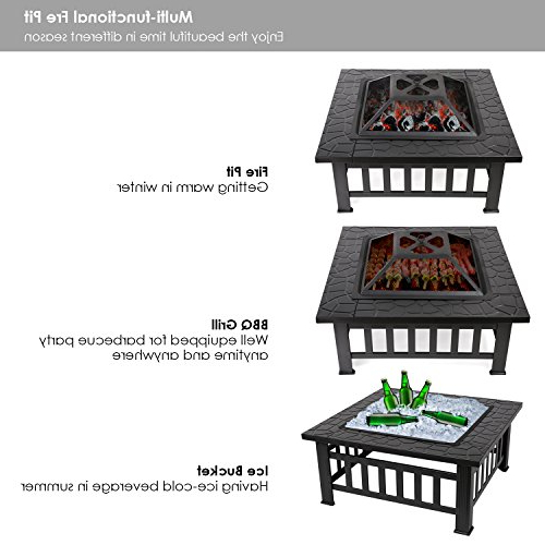 """Boston 01 Electric Fireplace Modern 79"""" Tv Stands With Regard To Most Recent Fixkit Outdoor Fire Pit Table With Grill, Metal Square (View 7 of 10)"""