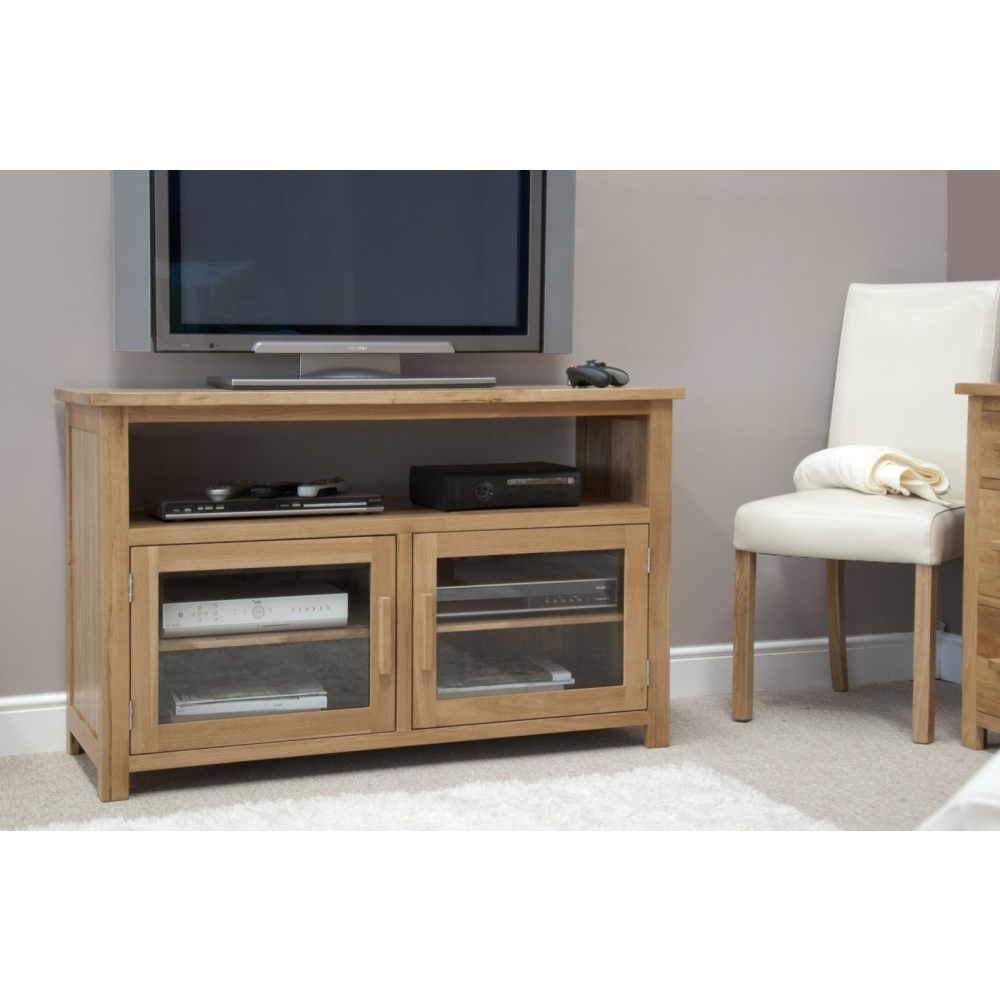 Boston Tv Cabinet Stand Entertainment Unit Solid Oak Regarding Well Known Boston Tv Stands (View 7 of 10)
