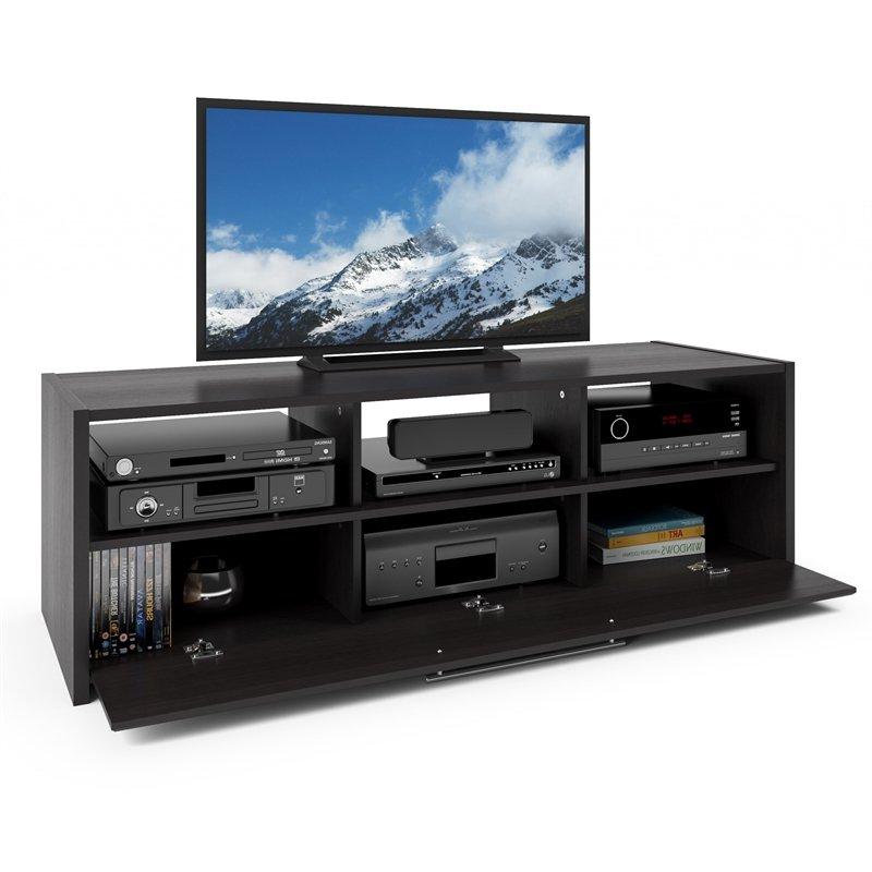 """Brigner Tv Stands For Tvs Up To 65"""" Intended For Well Known Corliving Naples Black Tv Stand – For Tvs Up To 65"""" – Tnp (View 20 of 25)"""