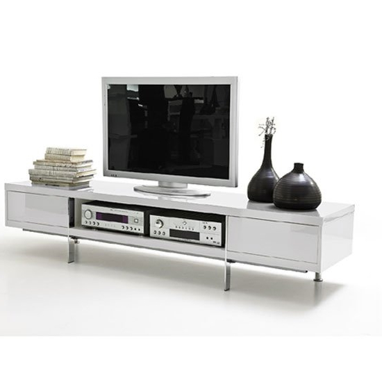 Brisbane Lcd Tv Stand In White High Gloss Finish With 2 For Well Liked Tv Stands With 2 Open Shelves 2 Drawers High Gloss Tv Unis (View 5 of 10)