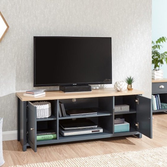 Bromley Blue Wide Tv Stands For Current Valencia Large Wooden Tv Stand In Slate Blue And Oak (View 1 of 10)