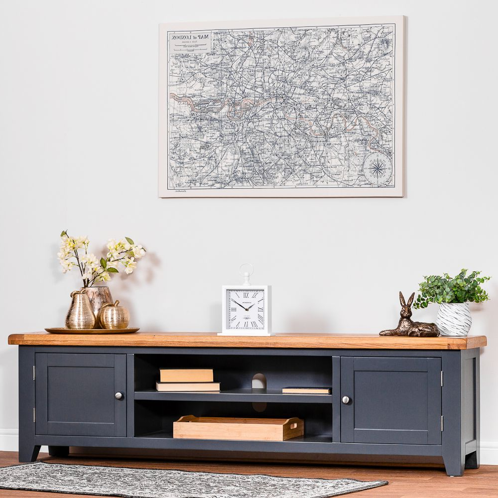 Bromley Blue Wide Tv Stands With Most Current Hampshire Blue Painted Oak Extra Large Tv Unit (View 5 of 10)