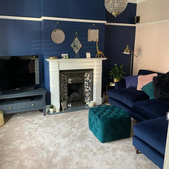 Bromley Grey Extra Wide Tv Stands Pertaining To Latest Bourbon Vintage Tv Stand, Slate Blue & Brass (View 2 of 10)