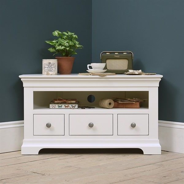 """Bromley Grey Tv Stands In Fashionable Chantilly White Corner Tv Stand – Up To 45"""" – The Cotswold (View 9 of 10)"""