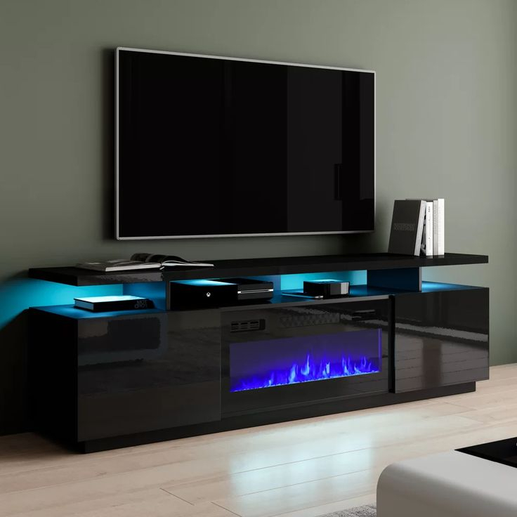 """Burkard Tv Stand For Tvs Up To 78"""" With Electric Fireplace Regarding Well Known Ansel Tv Stands For Tvs Up To 78"""" (View 25 of 25)"""