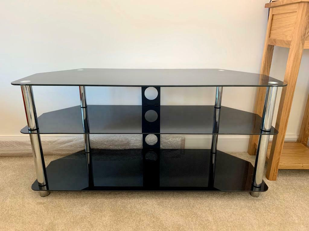 """Caleah Tv Stands For Tvs Up To 50"""" With Recent Black Glass Corner Tv Stand Up To 50 Inch (View 19 of 25)"""