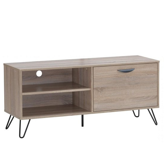 Canell Wooden Tv Stand In Oak Effect With Black Metal Legs In 2017 Claudia Brass Effect Wide Tv Stands (View 2 of 10)