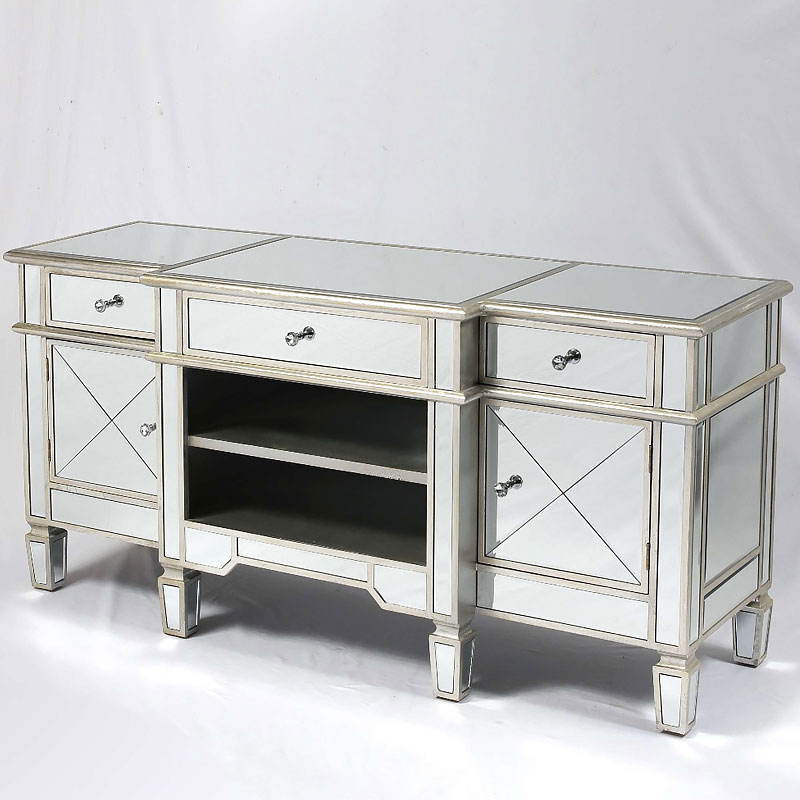 Canterbury Silver Mirrored Venetian Media Entertainment With Well Liked Fitzgerald Mirrored Tv Stands (View 4 of 25)