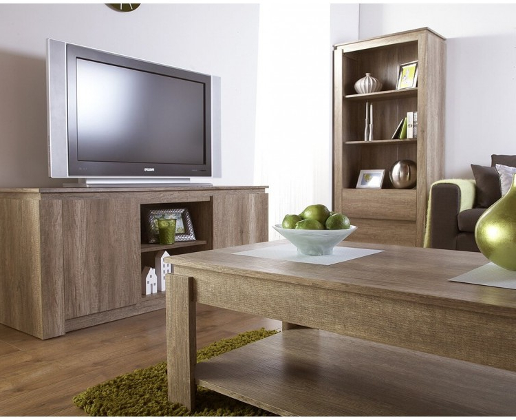 Canyon Oak Tv Stands With Newest Canyon Oak 3d Effect Bookcase Downstairs Range (View 10 of 10)