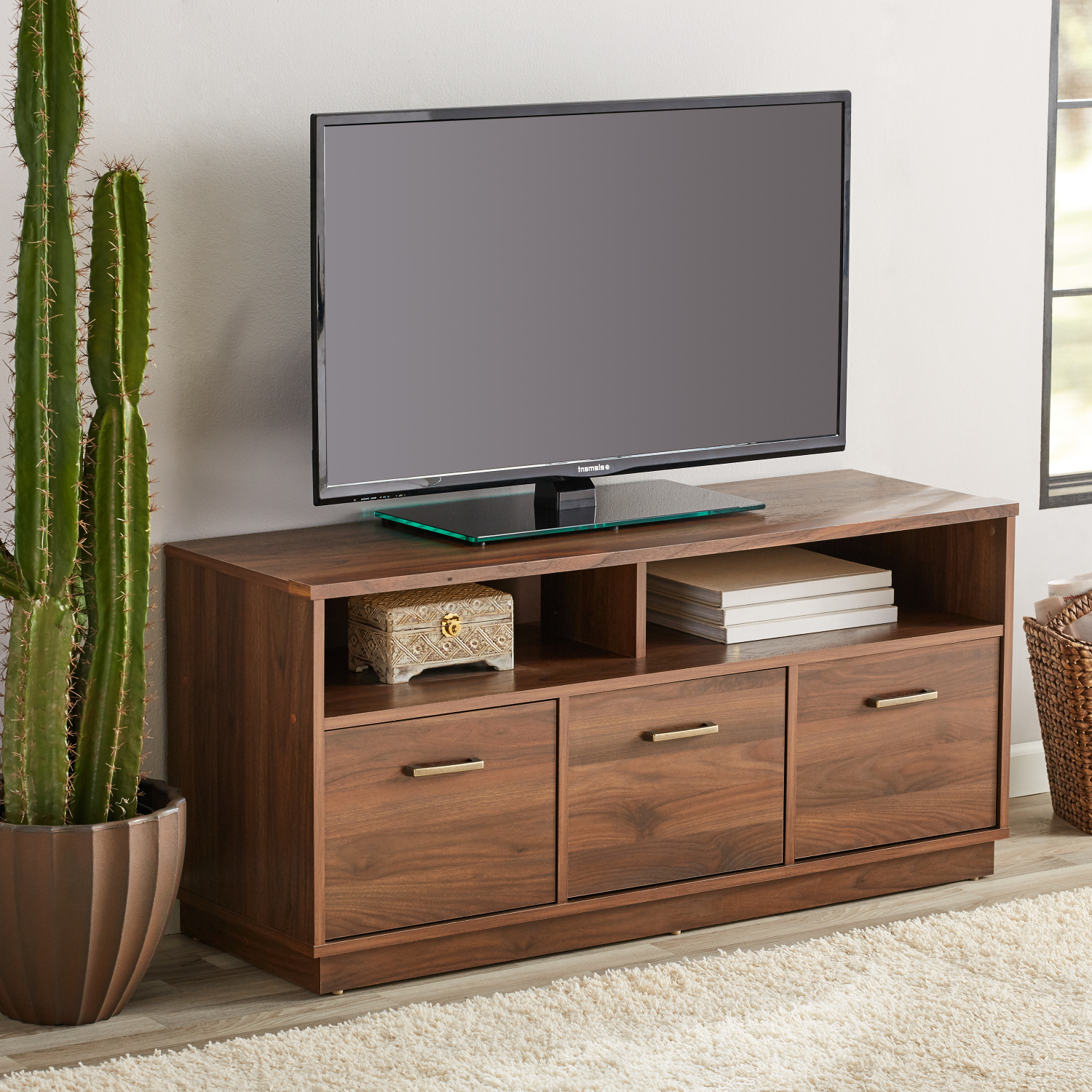 """Canyon Walnut 3 Door Tv Stand Console For Tvs Up To 50 Intended For Popular Lansing Tv Stands For Tvs Up To 50"""" (View 5 of 25)"""