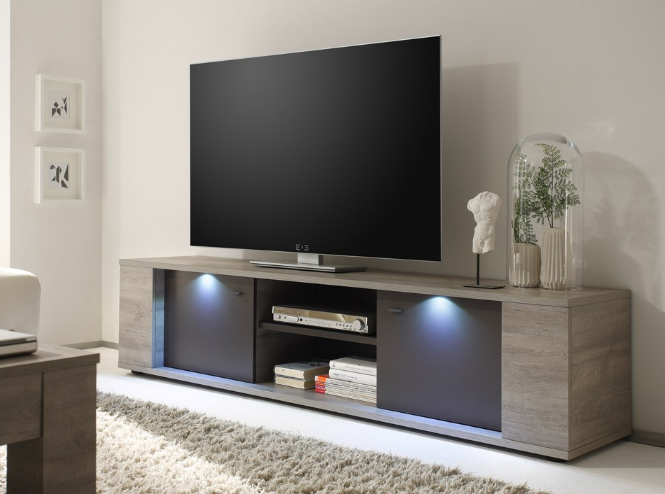 Carbon Extra Wide Tv Unit Stands With Regard To Fashionable Modern Tv Stand Sidney Largelc Mobili (View 7 of 10)
