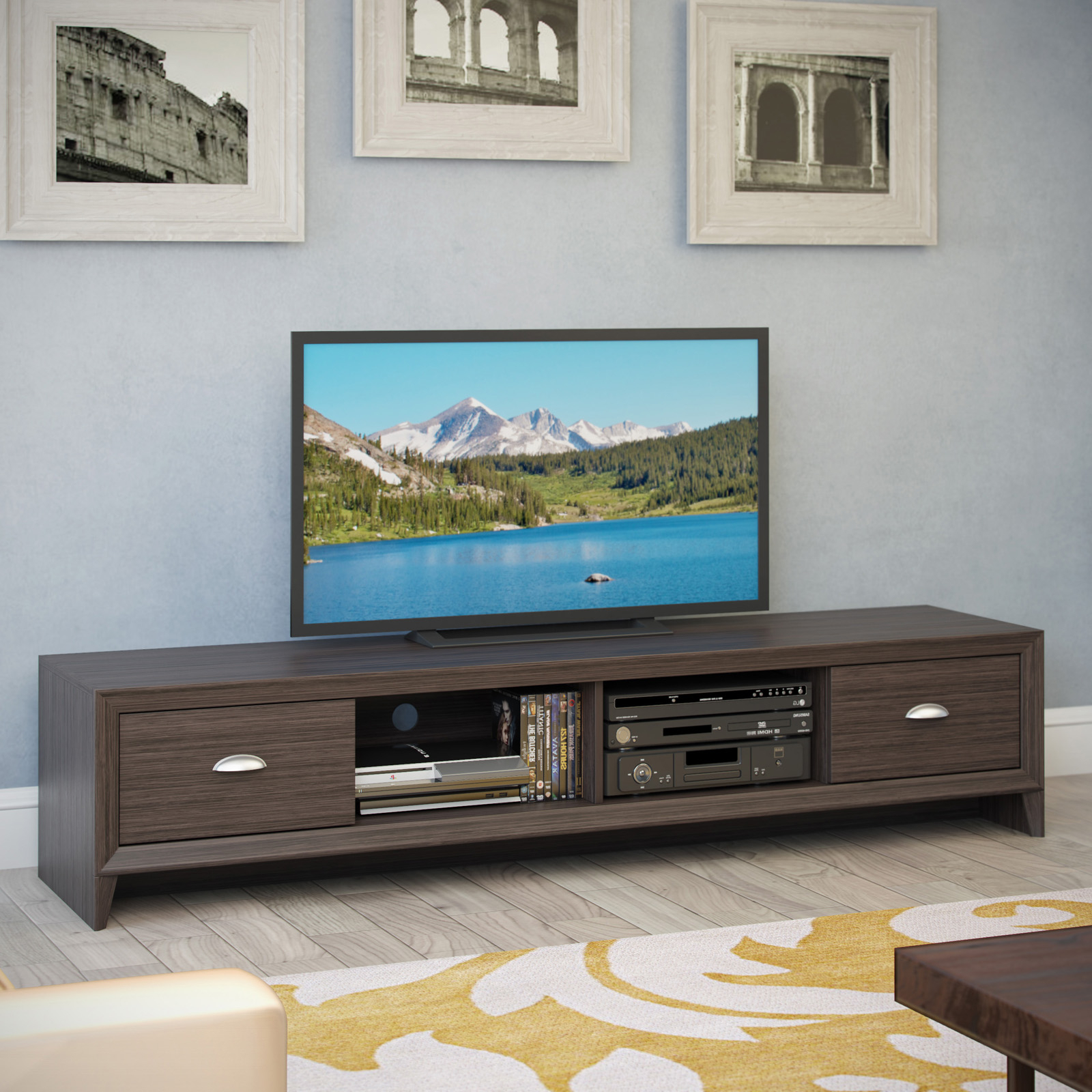 Carbon Wide Tv Stands For Famous Corliving Tlk 872 B Lakewood Extra Wide Tv Bench – Modern (View 1 of 10)