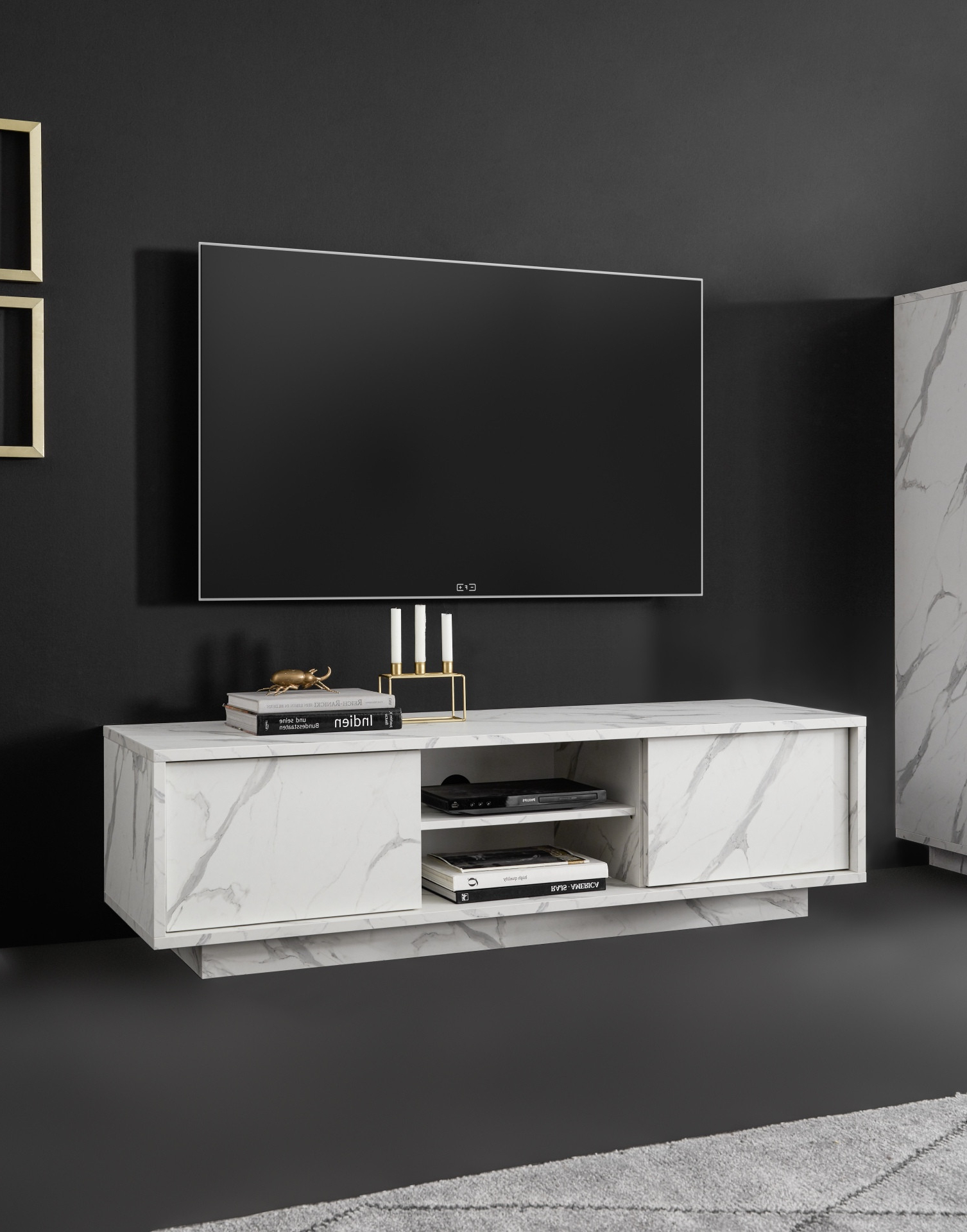 Carrara 139cm Modern Tv Unit In White Marble Imitation With 2018 Tv Stands With 2 Open Shelves 2 Drawers High Gloss Tv Unis (View 2 of 10)
