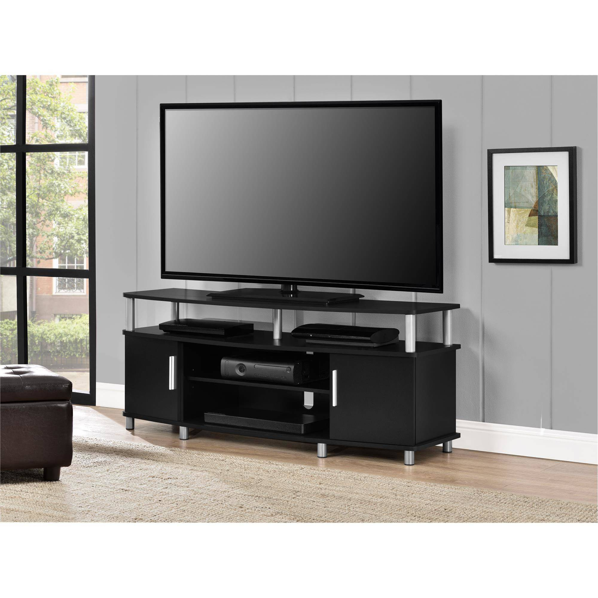 """Carson Tv Stand For Tvs Up To 50"""" Wide, Black – Walmart With Famous Oliver Wide Tv Stands (View 9 of 10)"""