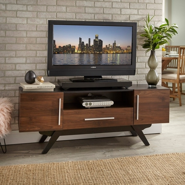 Carson Tv Stands In Black And Cherry Regarding Well Liked Shop Carson Carrington Arendal Mid Century Tv Stand – On (View 10 of 10)