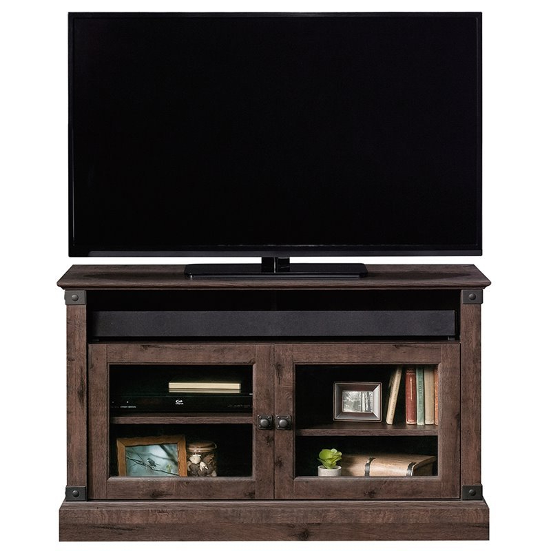 """Carson Tv Stands In Black And Cherry With 2018 Sauder Carson Forge Panel 43"""" Tv Stand In Coffee Oak –  (View 2 of 10)"""