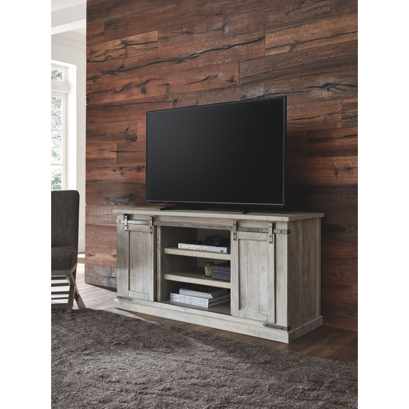 Carynhurst – Whitewash – Large Tv Stand With Regard To Newest Claudia Brass Effect Wide Tv Stands (View 8 of 10)