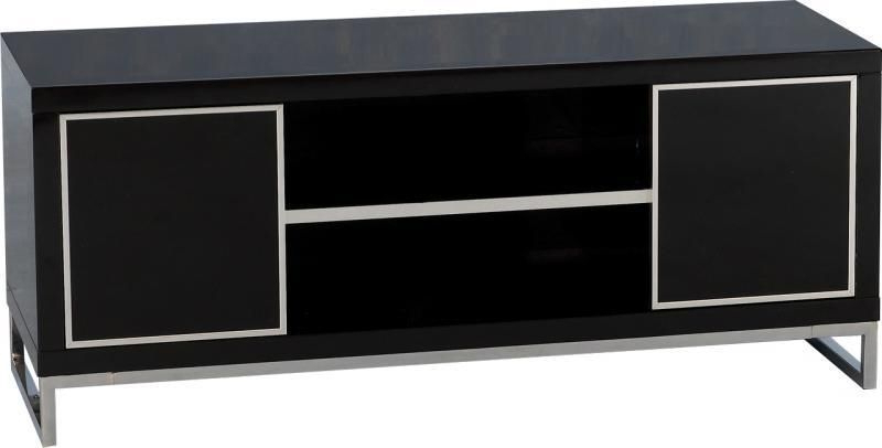Charisma 2 Door Tv Unit – Black Gloss/chrome – Value Furniture Pertaining To 2017 Charisma Tv Stands (View 2 of 10)