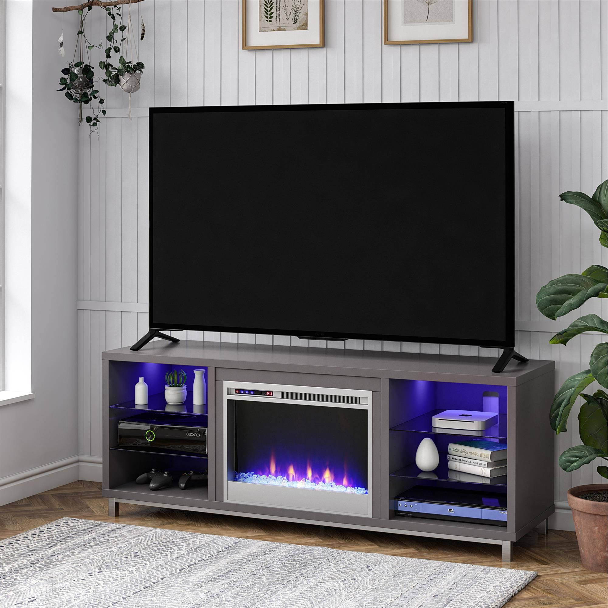 """Chicago Tv Stands For Tvs Up To 70"""" With Fireplace Included For Most Popular Ameriwood Lumina Fireplace Tv Stand For Tvs Up To 70"""" Wide (View 16 of 25)"""