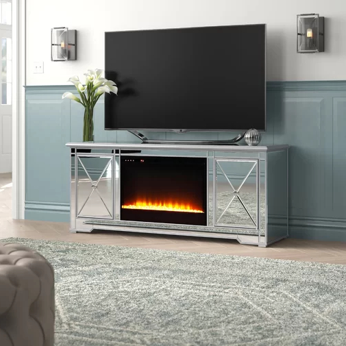 """Chicago Tv Stands For Tvs Up To 70"""" With Fireplace Included In Well Known Zariyah Solid Wood Tv Stand For Tvs Up To 70"""" With (View 8 of 25)"""