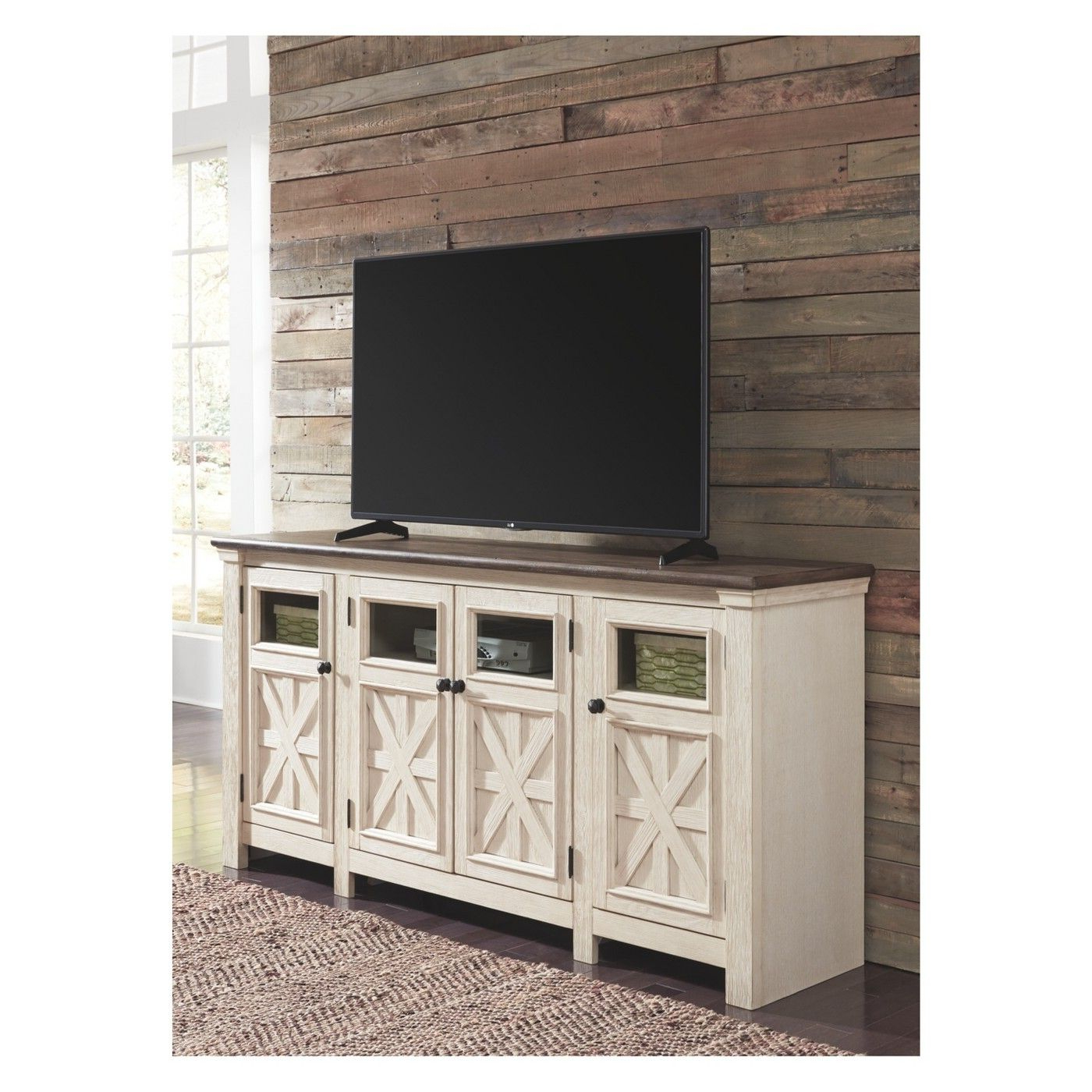 Chromium Extra Wide Tv Unit Stands Regarding Recent Bolanburg Extra Large Tv Stand Brown/white – Signature (View 2 of 10)