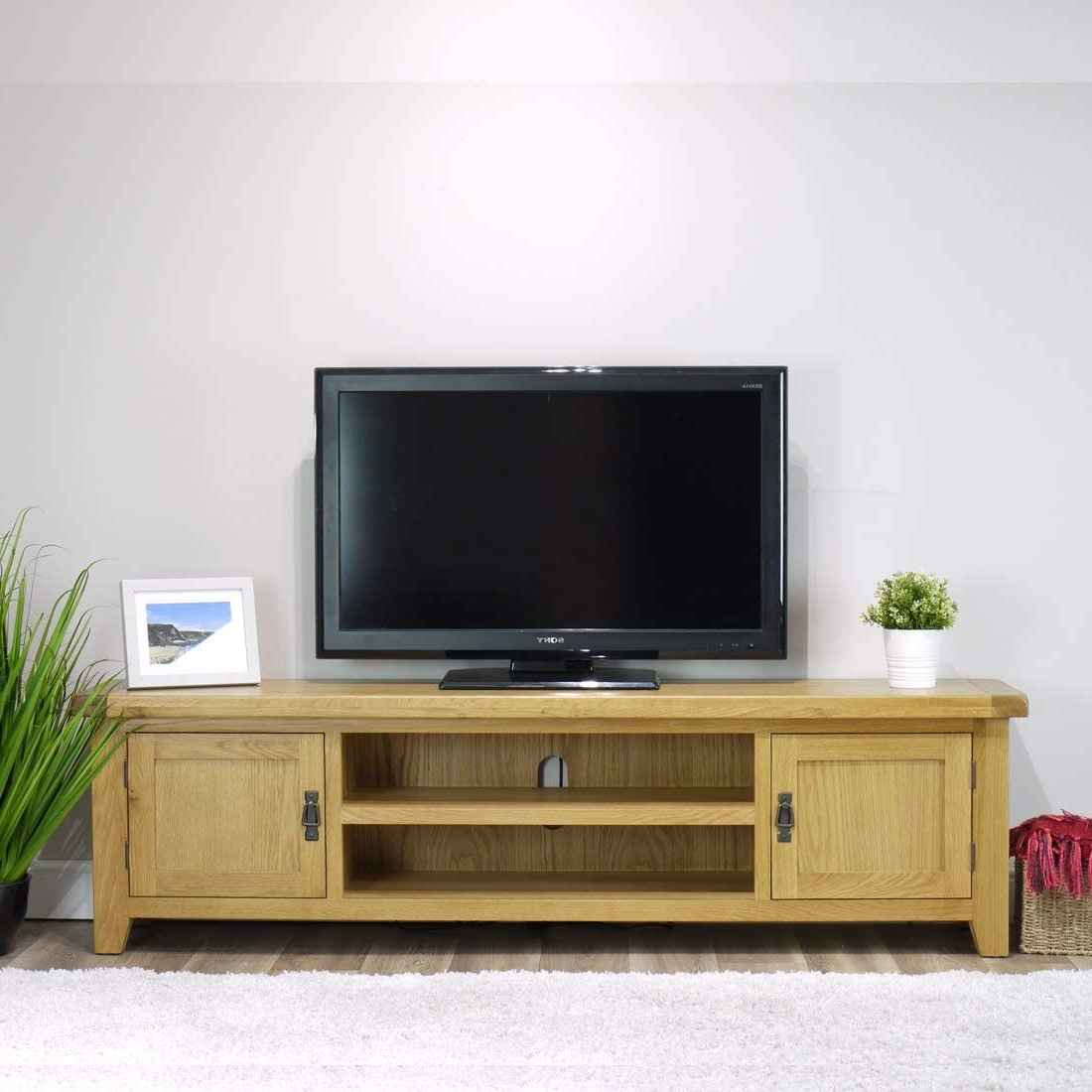 Chromium Extra Wide Tv Unit Stands With Regard To Well Known Arklow Oak Extra Large Tv Stand For 65 Inch Tv / 180cm (View 3 of 10)