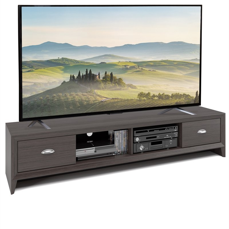 Chromium Extra Wide Tv Unit Stands Within Preferred Corliving Lakewood Extra Wide Brown Wood Grain Tv Stand (View 7 of 10)