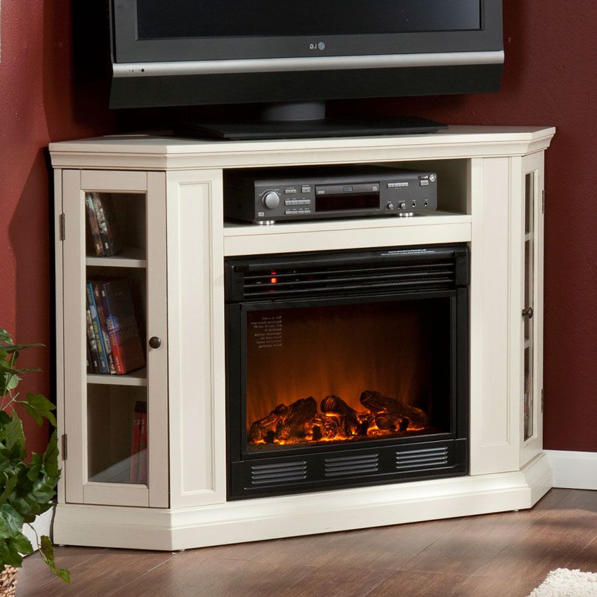 Claremont Ivory Convertible Electric Fireplace Media Intended For Recent Compton Ivory Corner Tv Stands (View 23 of 25)
