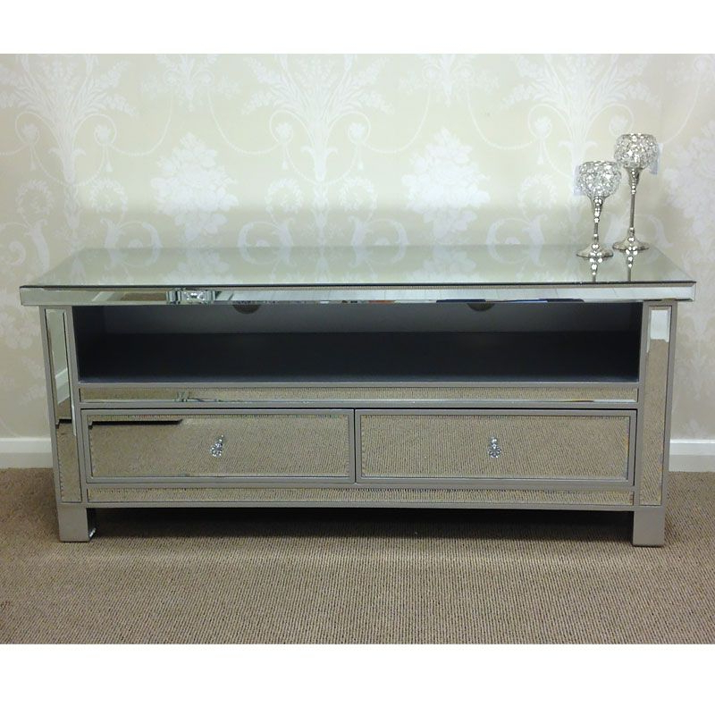 Classic Mirror Mirrored Widescreen Tv Entertainment Stand For Most Up To Date Loren Mirrored Wide Tv Unit Stands (View 4 of 10)