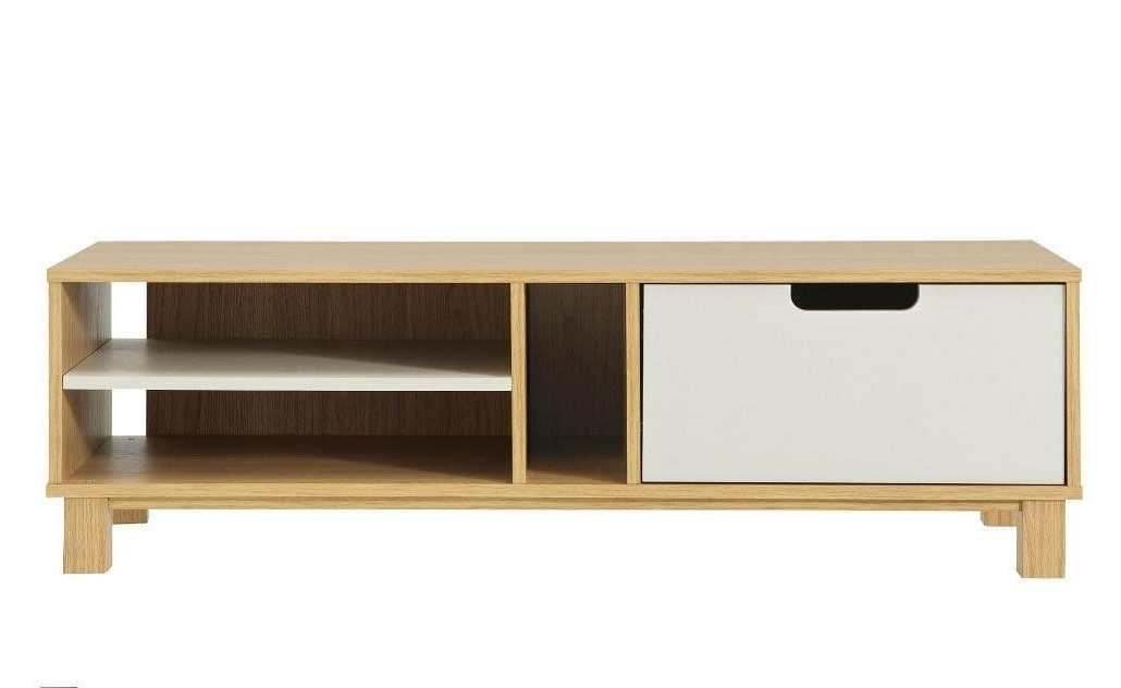 Claudia Brass Effect Wide Tv Stands In Well Liked Retro Tv Unit Plasma Screen Tv Cabinet White And Oak (View 6 of 10)
