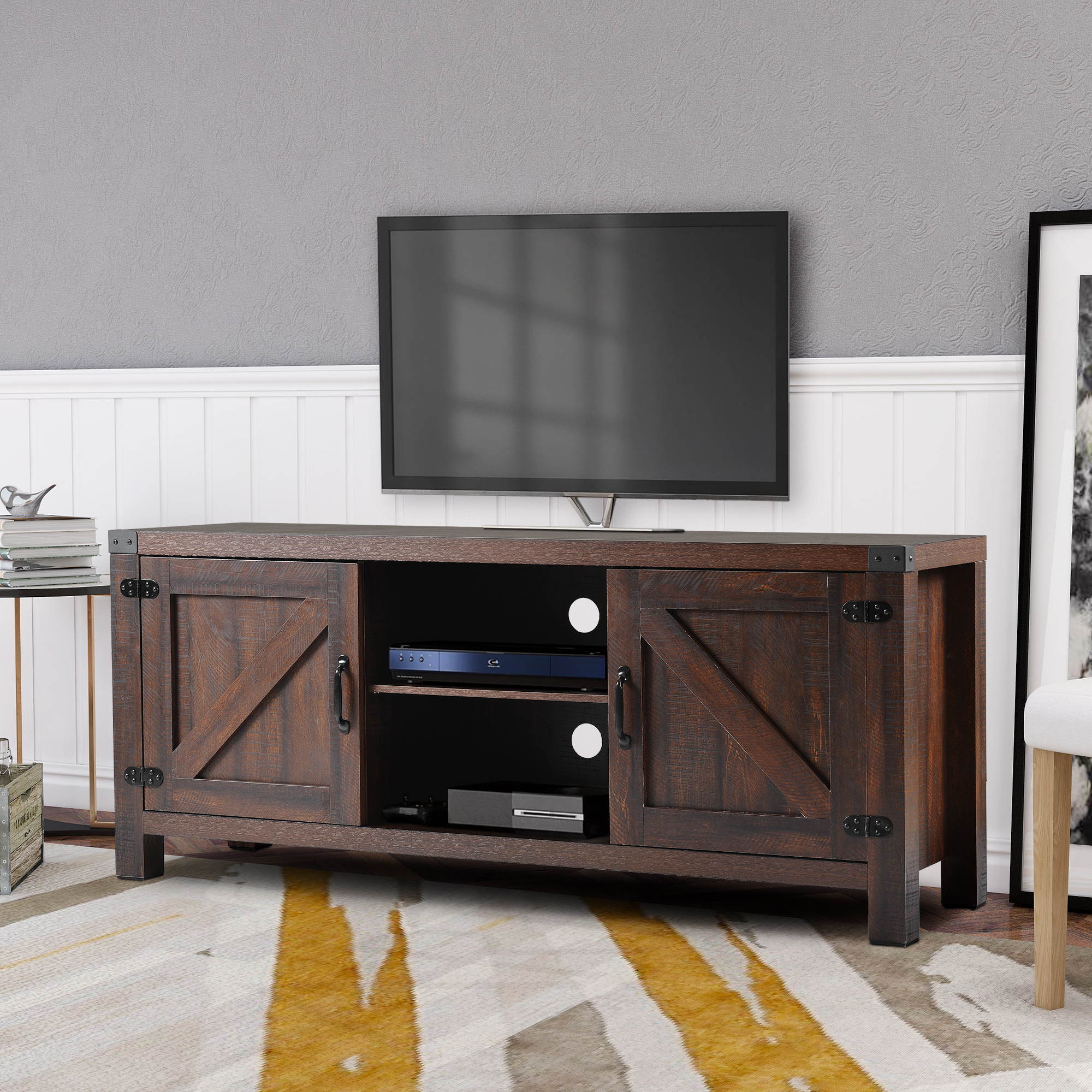 """Clearance! Fireplace Farmhouse Tv Stands For Tvs Up To 60 With Most Up To Date Kasen Tv Stands For Tvs Up To 60"""" (View 2 of 25)"""