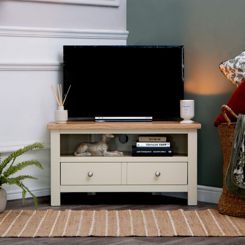Compton Ivory Corner Tv Stands Pertaining To Most Current Salisbury Ivory Painted Oak Corner Tv Unit (View 5 of 25)