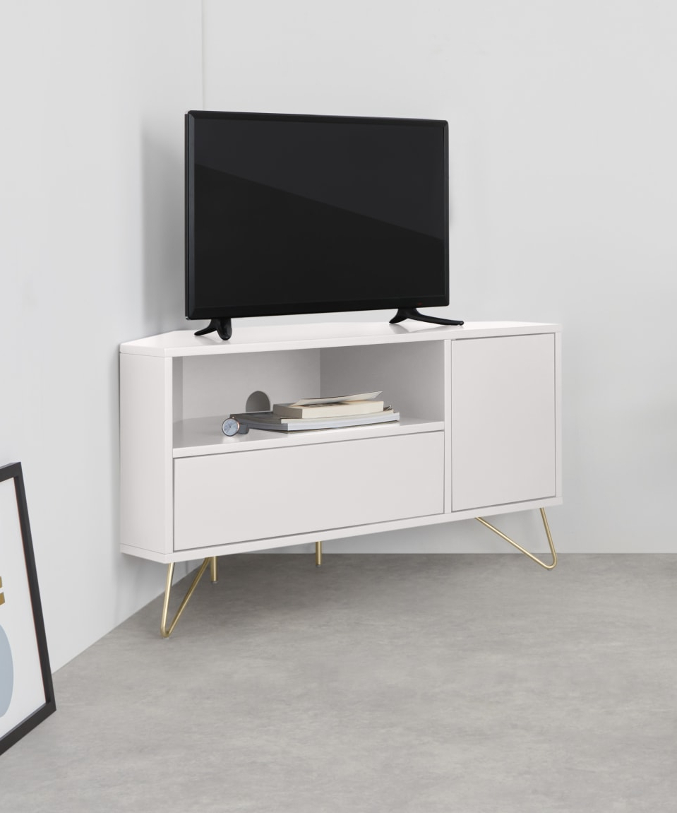 Compton Ivory Corner Tv Stands With Baskets For Current Elona Corner Media Unit, Ivory White & Brass (View 4 of 25)