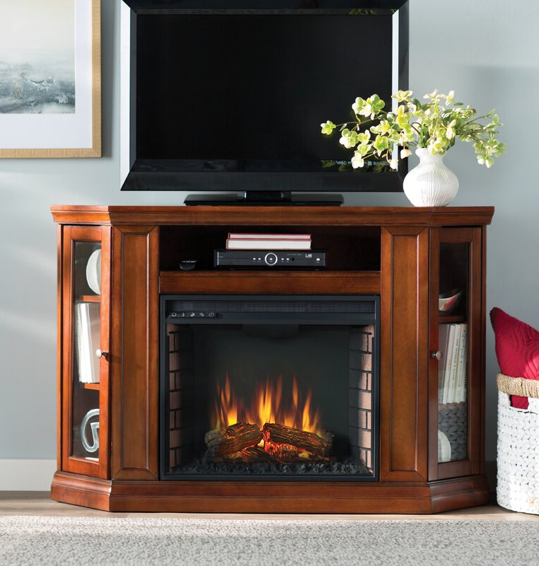 Compton Ivory Corner Tv Stands With Baskets Pertaining To Current Alcott Hill Dunminning Corner Tv Stand With Fireplace (View 8 of 25)